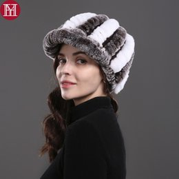 Rabbit Fur Hat Ladies Canada - fashion girl real fur cap lady winter natural real rex rabbit fur hat high quality women warm beanies 100% genuine hat