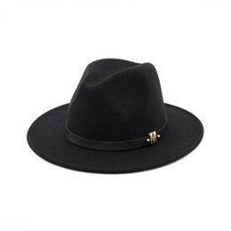 Discount cheap kentucky derby hats - M Brand Black Winter Wide Brim Hats Wool Dad Fedora Hat Gentleman Woolen Jazz Church Cap Vintage Panama Sun Top Hat Chea