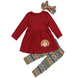 2f4ccd042 Thanksgiving Turkey Kids Baby Girl O-Neck Long Sleeve Pleated T-shirt Top  Geometric Print Long Pants Headband 4Pcs Outfit 2-7T