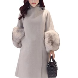 Wool clothing for Women online shopping - Fashion Fur Sleeve Winter Women Jacket New Wool Coat Solid Slim Outwear For Female Clothes Wooolen Coat QW756