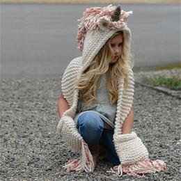 Reizendes Einhorn-Baby strickte Hüte mit Schal-gesetzter Winter windundurchlässiger Kinderjungen-Mädchen-warme Shapka-Kappen für Kind-Schal-Mützen-Kappen