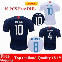 cf061d74a wholesale 10 PCS Free DHL Thai quality 2018 2019 USA jersey PULISIC Soccer  Jerseys 18 19 DEMPSEY BRADLEY ALTIDORE America Football jerseys