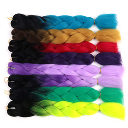 ombre hair prices Canada - Cheap Price Ombre Kanekalon Braiding Hair 24 Inch 100g piece Synthetic Crochet Hair Extensions Bulk Synthetic Hair