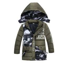 children jackets boys UK - Winter Jacket for Boys Hooded Coats Camouflage Children Thick Cotton Padded Jackets Long Warm Parka Boys Coat
