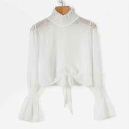 2018 Womens Tops Streetwear Front Tie Ruffle Long Sleeve Shirts Tunic Flare  Sleeve Ladies Girls Blouses ba3a44f417a4