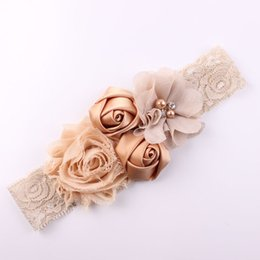 white lace rose bow headband 2019 - Apparel Accessories Headwear Shabby Lace Girls Chic Flower Children Headband Bow Flower Headband for Girl bow Children H