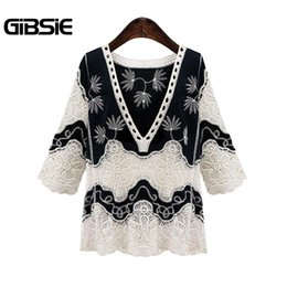 new fashion women blouses casual lace UK - GIBSIE Black and White Lace Blouse Fashion 2018 New Spring Women Tops V Neck 3 4 Sleeve Ethnic Casual Blouses Shirts Plus Size