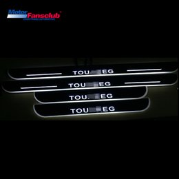 $enCountryForm.capitalKeyWord NZ - 4Pcs LED Car Moving Light Nerf Bar Pedal for Volkswagen Touareg Tiguan 2013-2016 Scuff Plate Door Sill Guards Welcome Pathway