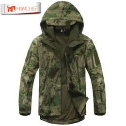 Discount lurker shark skin tactical jacket - Lurker Shark Skin Softshell V4  Tactical Jacket Men Waterproof Windproof Warm Coat Camouflage Hooded Camo Army Dropship