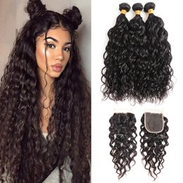 $enCountryForm.capitalKeyWord Australia - Brazilian Water Wave Hair Weaves 3 Bundles With 4x4 Lace Closure and Straight Loose Deep Water Wave Curly Hair Wefts With Closure