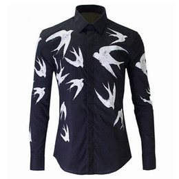 $enCountryForm.capitalKeyWord Australia - Mens White Black Shirt Long Sleeve 100%Cotton Luxury Dress Shirts Fashion Brand 3D Hand Painted Swallow Design Men Fancy Shirts