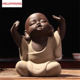 high tea decorations NZ - Lovely Buddha Tea Pet Monk Sand Tea Pet High Qulity Purple Tea Set Fitting Hand Decoration Hot Selling Factory Outlets