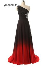 Strapless Sequin Red Dress Australia - 2017 New Long Prom Dress One Shoulder Black&Red Gradient Chiffon Ombre Evening Prom Dresses Party Gowns
