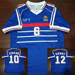 a03451772 98 Retro Soccer Jerseys Zidane Trezeguet Maillot FRANCe Djorkaeff Henry  Deschamps 1998 Classic Shirts Vintage Kits football Shirt Maillot