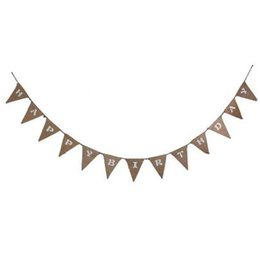 happy birthday garland UK - 1 Set HAPPY BAR Linen Bunting Hessian Burlap Banner Flags Letter Garland Banner Birthday Banner Decor Wedding Decorations