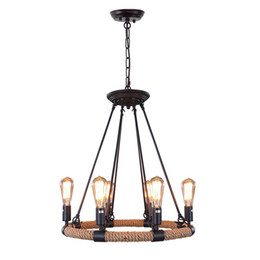 $enCountryForm.capitalKeyWord Australia - Loft Rope Rustic Chandeliers 6-light Vintage Pendant Lighting Chandelier Iron Adison Chain Droplights For living room indoor lights