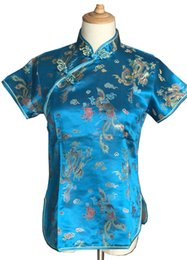 Shanghai Story Silk online shopping - Shanghai Story New Sale fashion cheongsam top traditional Chinese Women s Silk Satin Top china dragon and phoenix blouse top Blue A0016