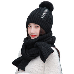 $enCountryForm.capitalKeyWord NZ - 2 Pieces Set Winter Thick Knit Hat And Scarf Plus Velvet Warm Cap Long Scarf Black Letter Hat Red Scarves Girl For Gift Set