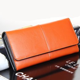 multi color note wallet UK - 2018 new European and American pure color leather leather wallet with large bills in hand and multi-card banquet wallet