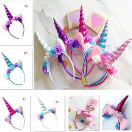 Flowers For hair accessories online shopping - Halloween Unicorn Headband For Kids Children Adult Flower Hairwear Party Cosplay Costume Hair Accessories Ear Hair Sticks DHL Ship HH7
