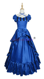 victorian short dress costume UK - Victorian Southern Belle Ball Gown Reenactment Halloween Blue Lolita Dress cosplay Costume H008