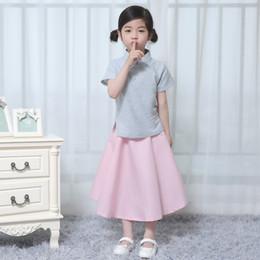 Kids Linen Suits Canada - Linen chinese folk costume children summer clothes sets top+skirt girl hanfu kids cheongsam suit baby sleeve dress 18