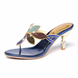 $enCountryForm.capitalKeyWord NZ - rhinestone sandals and slippers women's summer high-heeled fine with clip fashion non-slip character flip-flops female2