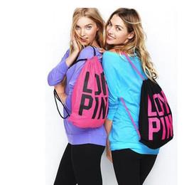 Опт 2017 розовый шнурок сумка рюкзаки женщины любят розовый школьные сумки розовый письмо хранения сумки мода холст сумки Сумки для покупок