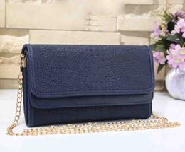 black purse gold chain 2018 - Wholesale Women Metal chain wallets Brand design Fashion crocodile grain wallets new pu leather women purses cell phone