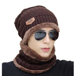 2da3cb0ab70 Winter Hat And Scarf For Women Men Cap Ring Scarves 2 Pcs Set Stretch Cable Knitted  Beanie Icon Cap Adult Warm Suit M-06