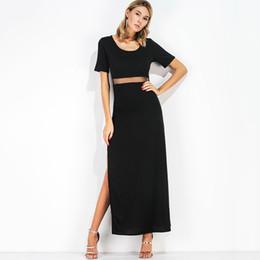 0f029590f70 Sexy Women Summer Maxi Dress Split Mesh Splicing O-Neck Short Sleeve Robe  Femme Nightclub Party Long Dress Casual Black Dress