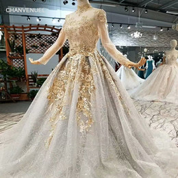 Sheath Evening Dress Patterns NZ - 2019 Shiny Golden Lace Long Evening Party Dresses Long Tulle Sleeves High Neck Lace-Up Back Elegant Mother Of The Bride Dresses Real Price