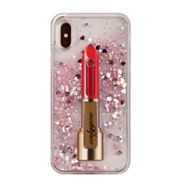 China Lipstick Female Liquid Hard Plastic+TPU Case For Iphone X 8 8+ 7 Plus  6 6S Moving 3D Quicksand Ring Bracket Glitter Heart Kickstand Cover supplier gold glitter lipstick suppliers