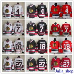 Throwback Chicago Blackhawks Hockey Jerseys 27 Jeremy Roenick 18 Denis  Savard 7 Chris Chelios 4 Orr Red White Black Vintage Jersey M-XXXL 346919f90