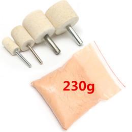 Freeshipping 1pc 230g polvere di ossido di cerio + 4 Pz / lotto 1.0 cm / 1.5 cm / 2.5 cm / 3.0 cm Legno Lucidatura Ruota Qualità Durevole in Offerta