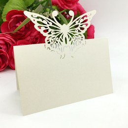 Chinese  Laser Cut Place Cards With Butterfly Troides Paper Carving Seating Cards Party Table Decorations Name Cards for Weddings PC53 manufacturers