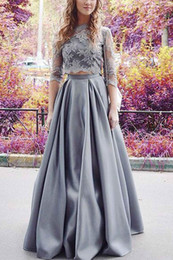 $enCountryForm.capitalKeyWord UK - Formal Evening Dresses Women's Gray Half Sleeve Two Pieces Elegant Bridal Gown Special Occasion Prom Bridesmaid Party Dress 17LF186
