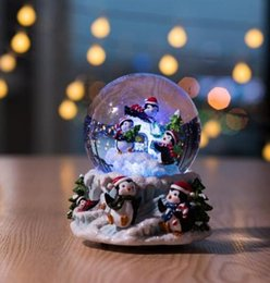 china ball lighting Australia - Christmas Penguin crystal ball box, creative new year's Christmas gifts decorations