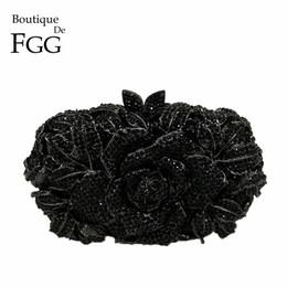 $enCountryForm.capitalKeyWord NZ - Boutique De FGG Classic Black Jet Crystal Clutch Evening Bag For Women Metal Floral Clutches Wedding Party Flower Handbag Purse Y18103004