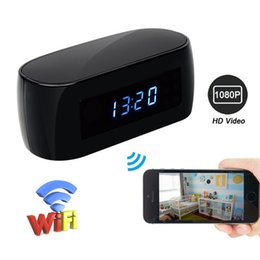 Network Pc Camera NZ - 32GB HD 1080P Alarm Clock WIFI Network Camera Wireless Nanny Cam Night Vision Security Cameras Motion Activated DVR for IOS Android PC iPad