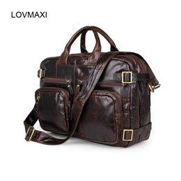 large brown leather men messenger bag 2019 - LOVMAXI Large Man Laptop Bag Men's Briefcases Genuine Leather Handbags Oil Leather Male Messenger Bag Multi-functio