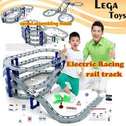 Discount plastic train track set - Electric Racing rail car kids train track model toy baby Railway Track Racing Road Transportation Building Slot Sets 3 s