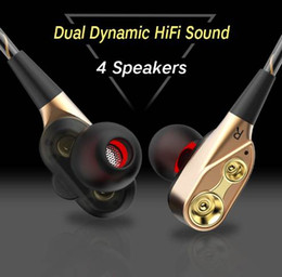 Speaker Ear Australia - IPUDIS 3.5mm HiFi Wired Earphone Dual-Dynamic Quad-core Speaker In-ear earbuds Flexible Cable Anti-wrap with HD Microphone