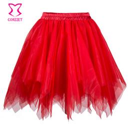 4a79c7ae70 Red Ruffle Layered Mesh Tulle Skirt Women Burlesque Costumes Petticoat Sexy  Tutu Skirts Womens Gothic Skirt Corset Underskirt