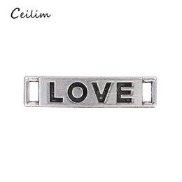 Wholesale 100pcs Alphabet Love Charms Connector Antique Tibetan Silver Pendant Findings Accessories DIY Vintage Choker Necklace Mixed Styles