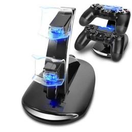 Venta al por mayor de Cargador USB doble LED para juegos de Sony PS4 Playstation 4 Controlador Muelle de carga Soporte Estación de la consola Accesorio joystick de juego