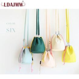 plain color blue string bag 2019 - New Japan And South Korea Elegant Solid Color Ladies Shoulder Bucket Bag Light And Durable Travel Change Lunch Box Bag c
