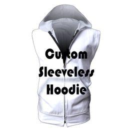 $enCountryForm.capitalKeyWord Australia - Drop Shipping USA SIZE Sleeveless Hoodies LOGO Customized Design DIY Made Men Hoodie Sweatshirts Vest Zip Fitness Bodybuilding