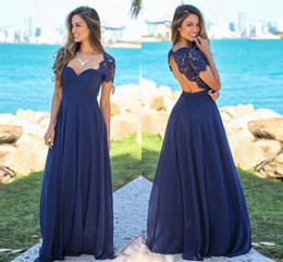 539ffd5f3c Nuevos vestidos de dama de honor de color azul marino Blush Scoop Hollow  Back top de encaje Chiffon Beach Garden boda invitados de dama de honor  vestidos ...