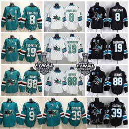 San Jose Sharks Jersey Hockey 8 Joe Pavelski 19 Joe Thornton 39 Logan  Couture 88 Brent Burns 9 Evander Kane Hertl Jones AD Green Black Men a1c44c8d6
